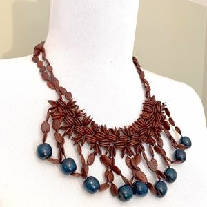 Jewelry - African Wooden Beaded Bib Choker Necklace